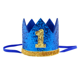 Boy Blue Silver First Birthday Hat Girl Gold Pink Priness Crown Number 1st 2 3 Year Old Party Hat Glitter Birthday Headband free shipping