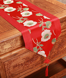 Rustic Jacquard Chinese knot Silk Table Runner Wedding Dining Table Mat Vintage Damask Table Cloth Rectangle Placemats 33x196cm