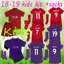2018 2019 M.SALAH Kids soccer jersey kit 18 19 GERRARD MANE FIRMINO VIRGIL LALLANA M SALAH home child Football shirt uniforms