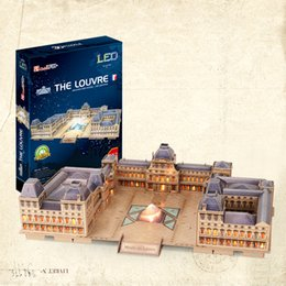 Cubicfun 3D Puzzle the Louvre 137Pcs with LED Light Foam Paper Jigsaw Educational Toy Assembly DIY Building Model Gifts