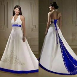 vintage white and royal blue a line wedding dresses halter neckline beaded embroidered satin chapel train corset bridal gowns robe de mariée