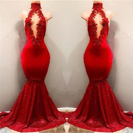 2018 Real Pictures Red Sexy High Neck Mermaid Sequined Skirts Prom Dresses With Hollow Out Front Lace Appliqued Beads Evening Gowns BA7962