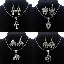 Hot Sale Retro Statement Necklaces Charm Owl Elephant Cross The tree of life Pendant Necklace Earrings Jewelry Set For Women Christmas Gift