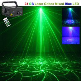 AUCD Mini IR Remote 24 Big Pattern Mini GB Laser Projector Lights 3W Blue LED Mixing Cross Effect DJ KTV Stage Lighting L24GB