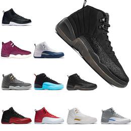 wholesale men shoes basketball 12 12s OV black black Nylon flu game Dark grey Royal Blue whtite black the master trainers Sports shoes