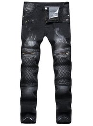 2018 Fashion Men's Jeans Fashion Black jeans zippers embroidered craft men's clothing elastic pants