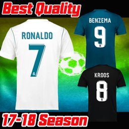 Best Quality Real Madrid Home Soccer Jersey 17 18 CR7 Away black soccer shirt 2018 Ronaldo third Football uniforms Asensio Isco Kroos sales