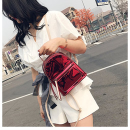 Student bag fashion hit color backpack patent leather student bag mini simple 2018 new mirror small shoulder bag