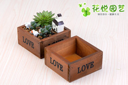Wholesale Fairy Garden Wood Planters For Succulents Planter Micro Landscape Decoration Accessories Square Bonsai Pot succulent Planters