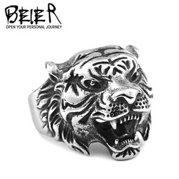New Personality Man's Stainless Steel Ring Domineering Animal Tiger head Punk Fashion 316L Titanium Steel Rings Jewelry