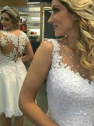 Knee Length Wedding Dresses Sheer Neck Hollow Back With Beading Sequins Applique Sheath Short Wedding Bridal Gowns Cheap New