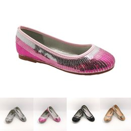 Sequines Ballerina Dress Shoes for Girls Toddler Childrens' Silver Pink Gold Black Satin Textile Wedding Party Zapatos