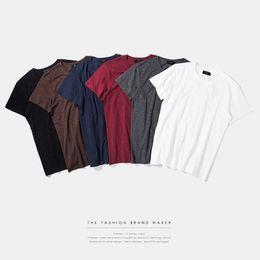 High quality men's T-shirt spring summer new comfortable slub Cotton Black T-Shirt male Mens senior color quality