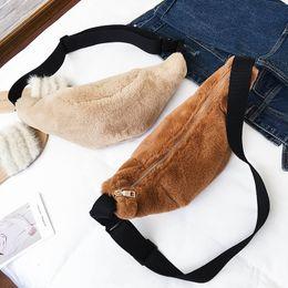 Plush Waist chest bag Winter women New 4colors Handbags Fashion Shoulder Bag Crossbody moon shape Velour sweet cute girl lady 171217001