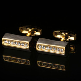 High-grade gold diamond rectangular French cufflinks drawing Suit shirt sleeve nail cufflinks free shipping