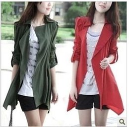 Long Jacket women Autumn jacket military army green jackets Epaulet drawstring adjustable mujer coat