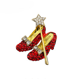 Crystal Ruby Slippers Brooch Red Shoes Wizard Of Oz Shoe Brooches pin