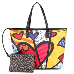 ROMERO BRITTO Big brand handbag shoulder bag diagonal cross bag large capacity regular tote bag and coin purse