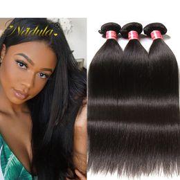 NadulaBrazilian Virgin Human Hair 4 Bundles Peruvian Straight Hair Weave Bundles Raw Indian Remy Human Hair Extensions Wholesale Cheap Silk