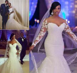 African Long Sleeves Lace Plus Size Wedding Dresses Mermaid Sweetheart Appliques Wedding Gowns Chapel Train Bridal Dress Vestido de novia