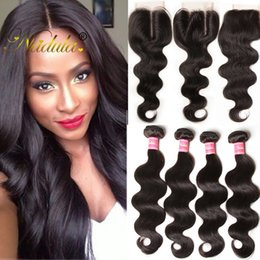 Nadula Malaysian Hair Bundles with Closure Body Wave Hair Weave Bundle With Closure Virgin Human Hair Extensions With Lace Closure Wholesale