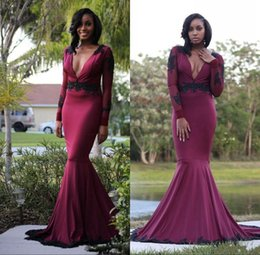 Sexy Deep V Neck Prom Dresses 2018 Burgundy Mermaid Long Sleeves Evening Gowns With Black Sequins Appliques Open Back Women Formal Wear