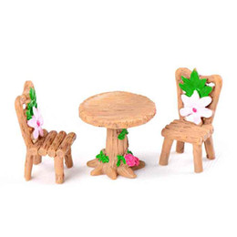 3pcs Set Mini Wooden Round Table Chair Set Potted Plant Ornaments DIY Material Model Handicraft Moss Terrarium Micro Landscape Fairy Garden