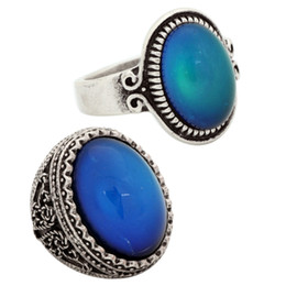 2 Pcs Luxury Womens Color Change Gemstone Ring Handmade Gift Antique Silver Plated Mood Ring RS009-029
