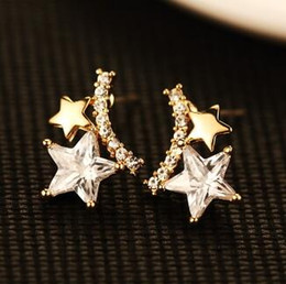 Luxury Zircon Star Stud Earrings for Women Fashion Jewelry Accessories Gold Plated Vintage Earrings European Style