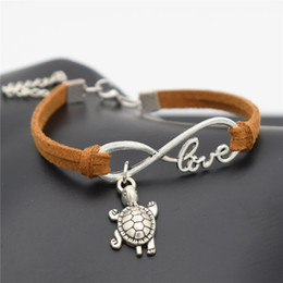 AFSHOR Chic 2018 Beach Lovely Animals Jewelry Small Tortoise Cute Silver Sea Turtle Charms Love Infinity Leather Unique Bracelet AF015