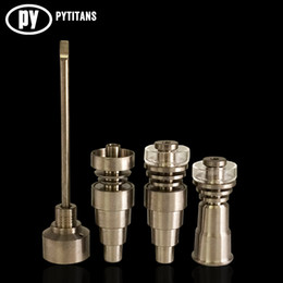 Universal 6 In 1 Titanium nail 10 14 18mm Female And Male Domeless Nail Carb Cap For Glass Pipe Or Silicone Pipe