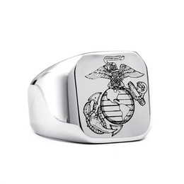 New Men's Stainless Steel Marine Corps Ring USMC European American Fashion 316L Titanium Steel Rings Jewelry Gift