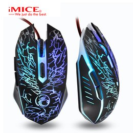 Original Estone X5 USB Wired Optical Computer Mouse 6 Key 2400DPI Colorful Led Breathing Light Mice Mause for PC Laptop Games