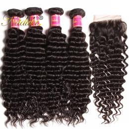 Nadula Peruvian Deep Wave Human Hair Bundles with Closure Peruvian Hair Lace Frontal Closure With 4 Bundles Virgin Human Hair Extensions
