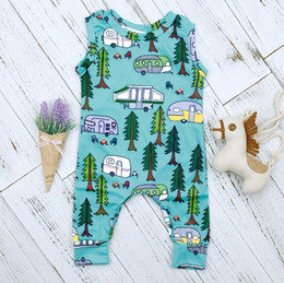 2018 New Arrival Summer Spring Newborn Baby Boys Cotton Romper Infant Toddlers Sleeveless Forest Road Playsuit Clothes