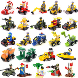 Cars Building Blocks Minifig Fire truck police car Mini Figure Toys Ninja figures crane Raytheon Reconnaissance tank Excavator Many Cars