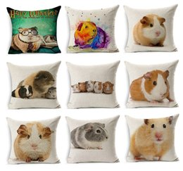 Guinea Pig Cushion Covers 20 Styles Watercolor Dutch Pig Animal Sketch Thick Linen Cotton Pillow Case Bedroom Sofa Decoration