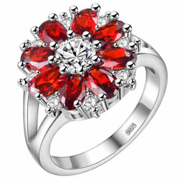 High Quality Elegant Valentine's Day Engagement 925 Silver Natural Purple Red Pink Cubic Zirconia Ring New