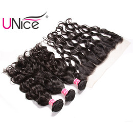 UNice Hair 8a Virgin Human Hair Bundles With Frontal Brazilian Curly Wave Natural Wave Lace Frontal With Bundles Remy Weaves Unprocessed