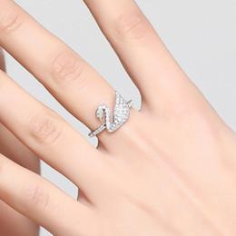 2018 SWAROVSKI women Iconic Swan Ring Crystal Authentic MIB Fashion Jewelry Silver Citrine Wedding Gift Size4-11