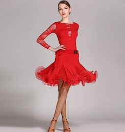 Free Shipping 4Color Green Adult Girl Latin Dance Dress Salsa Tango Chacha Ballroom Competition Dance Dress Lace Stitching Long Sleeve Dress