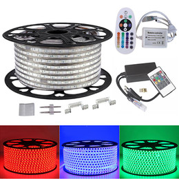 5050 RGB Led strip light 110V 220V 60led M IP65 Waterproof led lamp for living room+Power Supply+IR Remote Control