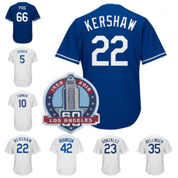 22 Clayton Kershaw 42 Robinson 35 Cody Bellinger 5 Corey Seager Yasiel Puig Justin Turner Chris Taylor 60th Patch Baseball Jersey