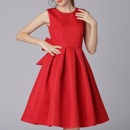 Side bow dress 2018 Spring and Autumn Europe and the United States women's new fashion dress