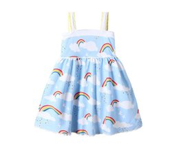 Girls Rainbow Dress INS Baby Clothing 2018 Simmer Flower Pleated Dress Fashion Shoulder-straps Lace Princess Dress HX-917