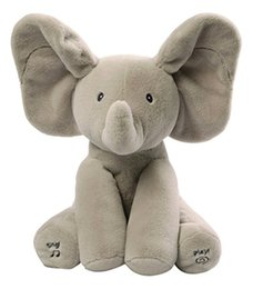 1pc 30CM Baby Animated Flappy The Elephant Plush Toy 12inch sleep pillow birthday gift INS Lumbar Pillow Long Nose Elephant Music Sing Songs
