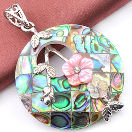 New Arrives 6pcs   lot Fashion Pendant Necklaces Natural Abalone Shell Gemstone 925 Sterling Silver Pendant Jewelry