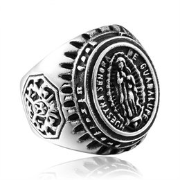 New Men's Stainless Steel Blessed Virgin Mary Ring European and American Fashion 316L Titanium Steel Rings Jewelry Gift