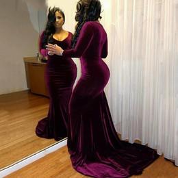 2018 Sexy Plus Size Burgundy Velvet Prom Dresses for Black Girls Long Sleeves Mermaid V-neck Formal Party Dress Evening Gowns