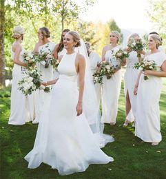 Sexy Halter Mermaid Wedding Dresses 2018 Removable Train Organza Ribbon Edge Bridal Gowns with Detachable Skirt Wedding Gowns Vestido novia